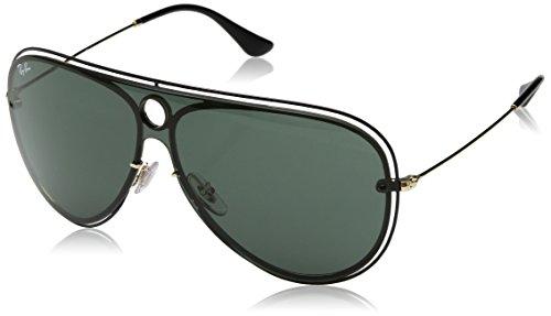 (Ray-Ban RB3605N Aviator Sunglasses, Shiny Black On Gold/Dark Green, 32 mm)