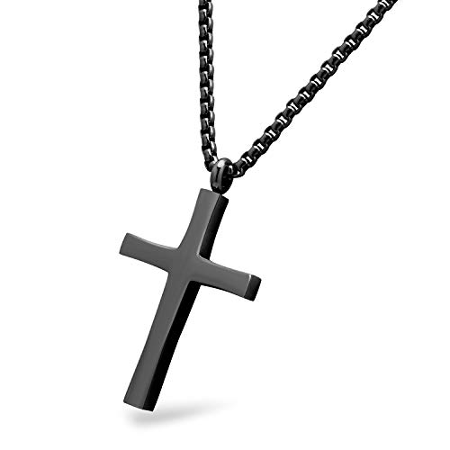 555Jewelery Stainless Steel Metal Cross Men Women Unisex Adjustable Rolo Chain Religious Christian Prayer Vintage Simple Fashion Jewelry Accessory Chain Pendant Necklace, Black 18 Inch