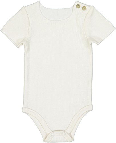 Lil Legs Unisex Baby/Toddler Short Sleeve Ribbed Bodysuit Onesie - Ivory, 24 Months (Short Onesie Ribbed Sleeve)