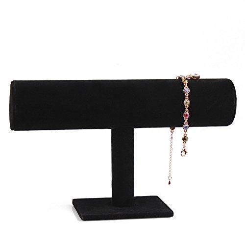 ChezMax Hovering T-Bar Bracelet Necklace Jewelry Display Stand for Home Organization, Black Velvet