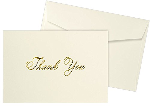 A1 Folded Notecard and Envelope Set (3 3/8 x 4 7/8) - 100lb. Natural w/Gold Foil Embossed Thank you (50 qty) | Perfect for sending hand written Wedding, Birthday or Holiday Thank You Cards |