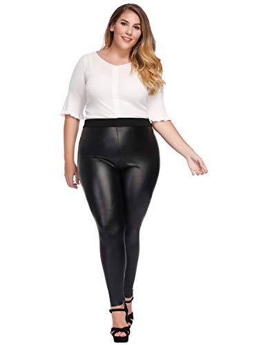 f45e3cb5084c98 MCEDAR Women's Faux Leather Leggings Plus Size Girls High Waisted Sexy  Skinny Pants (XXXL, Black)