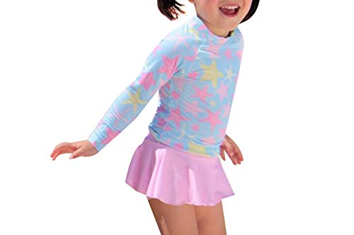 G-Kid Baby Girls Quick Drying Skirt Swimsuit Long Sleeve Toddler Floral Ruffles Swimwear UPF 50+ (7-8T, Pink)