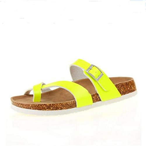 Sandal Leather Women Footbed 13 Adjustable Slide for Casual YaMiFan Sandals Flat Cork AU6wnqxHBv