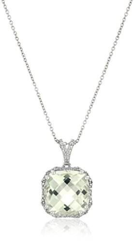 Green Amethyst Diamond Pendant (Sterling Silver Green Amethyst and Diamond-Accented Pendant Necklace, 18