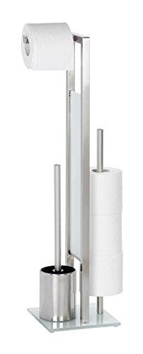Wenko 21564100 Stand WC-Garnitur Rivalta, Edelstahl rostfrei, 18 x 70 x 20 cm, matt