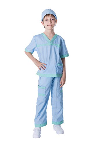Dr. Scrubs Deluxe Kids Toddler Vet Costume Set in Blue for Scrub's Pretend Play, Halloween Jr. Doctor Dress Up Party (Large (10-12yr)) -