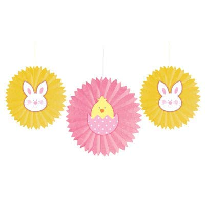 Bunnies and Chick Tissue Fans with Attachments (Pack of 3) Easter Party Decorations, Party ()