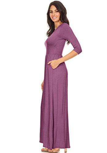 Scoop Women's Neck Empire Pockets Elastic Maxi Long Dress Dark Mauve Simlu and with Waist Rayon Rd08Rwq