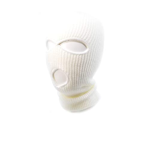 (AcademyFits Full Face Ski Mask Beanie Adjustable Fit Men Women Unisex One Three Hole Winter Headwear Face Mask Protection (White))