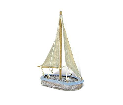 CoTa Global Pacific Blue Distressed Finish Mini Sailboat Replica Nautical Decor 3.75