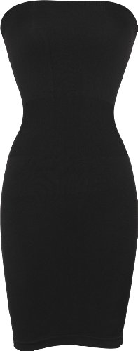 Seamless Smoother Tube Slip Dress, One Size, Black