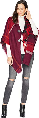 - Collection XIIX Women's Mega Plaid Toggle Shawl, eggplant, One Size