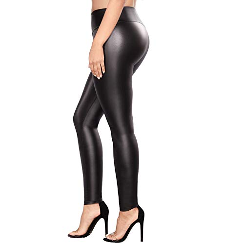 Petite Metallic Printed - Retro Sexy Womens Black Faux Leather High Waisted Leggings Pants Tights Stretchy Comfy Apparel