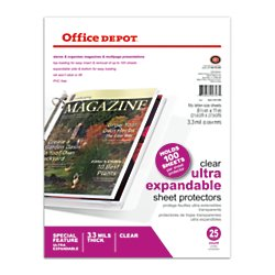 Office Depot Top-Loading Sheet Protectors, Heavyweight, Clear, Expandable, Box Of 25, 105007RMDUP