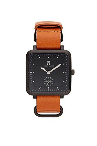 Washington Square's Classic Greenwich Black - 38mm Traditional Black Face Watch - Japanese Quartz Movement - Genuine Italian Brown Leather Strap