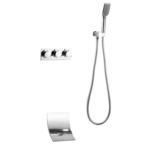 JiaYouJia Waterfall Wall Mount Tub Filler Faucet with Hand Shower