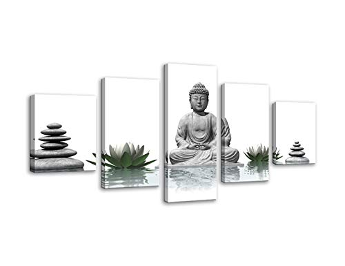 Urttiiyy 5 Pcs Buddha with Stone Zen Canvas Wall Art Poster Paintings HD Prints Home Decor Modern Buddha Statue Zen Picture Poster Canvas Contemporary Artwork Framed Ready to Hang (Grey Canvas Buddha)