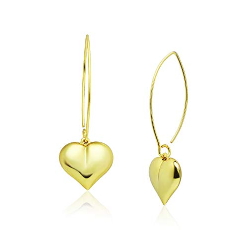 - Big Apple Hoops - Genuine Sterling Silver Valentine's Heart Dangle Earrings | Yellow Gold Flashed