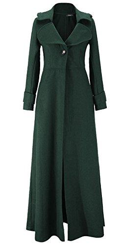 Mujer Blazer Chaqueta de Clasico con Abrigo Botón Oscuro Manga Verde Largo Larga de Elegante Trenca Abrigo UPrwqU