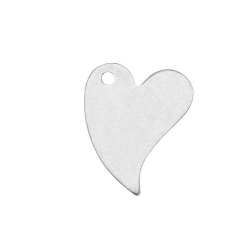 Beadaholique Sterling Silver Blank Stampings Long Heart Charms 12x9mm (2)