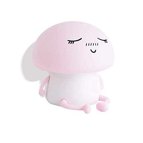 - Novelty Silicon Emoji Mushroom Led Touch Nightlight Rechargeable Sensitive Cute Desk Room Lamp for Baby, Children,Toddlers or Nursery Bedroom Children Gift(Pink)