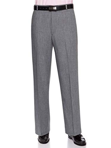 Mens Flat Front Dress Pants - Wool Blend Long Formal Pants for Men, Made in USA Heather Grey 44 Short