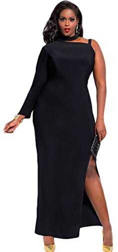 [Mxtoppy Plus Size Women Sexy Casual Dress Night Clubwear Party Cocktail Midi Dress Slit One Sleeve Black] (Plus Size Evening Wear)