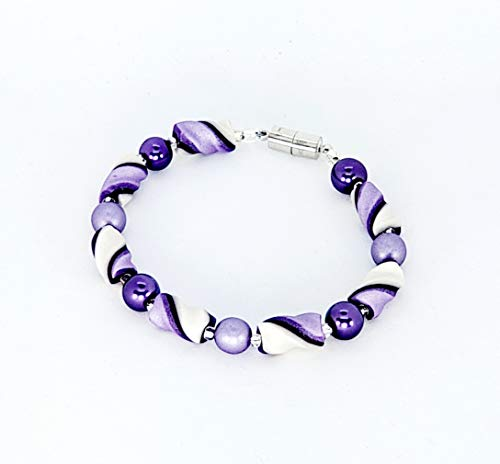 Two Purples and Pearl White Twist Bead Handcrafted Polymer Clay Bracelet Glass Beads Magnetic Clasp