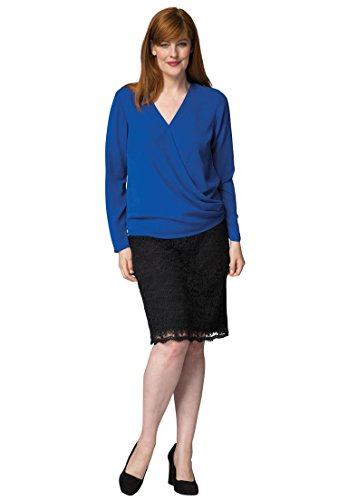 Jessica London Women's Plus Size Surplice V-Neck Blouse – 12 Plus, Dark Sapphire