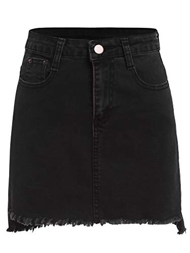 - Romwe Petite's Summer Denim Jean Mini Bodycon Pencil Skirt Black L