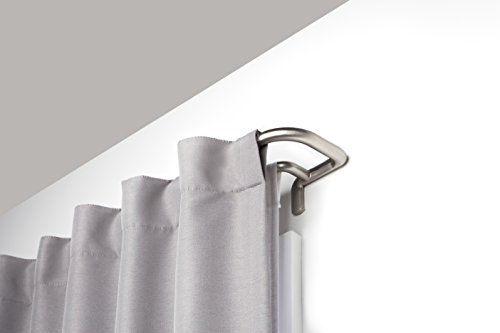 Umbra Twilight Double Rod Set - Wrap Around Design is Ideal for Blackout Room Darkening Curtains, 88 to 144 Inch, Matte Nickel, 144-inch ()