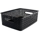 Bulk Buy: Advantus Crafts (2-Pack) Weave Design Plastic Bin Medium Black, 13.75in.L x 10.5in.W x 4.625in.H 36003