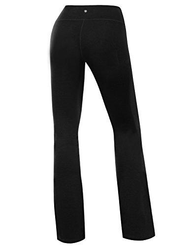 Yoga Reflex Women's Boot-Leg Fitness Yoga Running Lounge Pants Workout Leggings , Black , Small