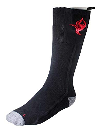 Heated Wool Socks, Electric Running, Hiking, and Hunting Socks for Men and Women (SMALL, BLACK)