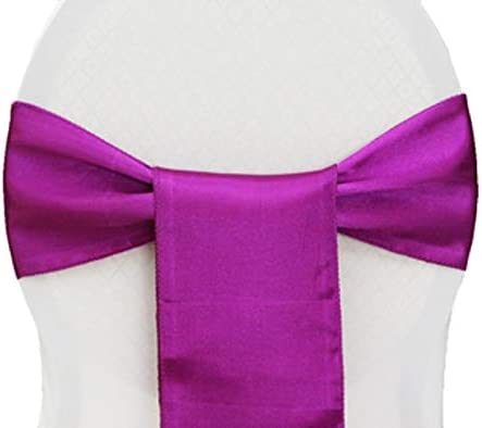 VDS - 100 PCS Elegant Satin Chair Bow Sashes Bows for Wedding Party Banquet Decor - Ribbon Tie Back sash – Magenta Violate