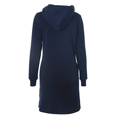 con Manga Cappuccio Sólido Joven Bolsillos Hoodie Cordón Blau Dress Larga Mujer Modernas Vestidos Camicia Largos Color Otoño Delanteros con Moda Spx8nwq7O