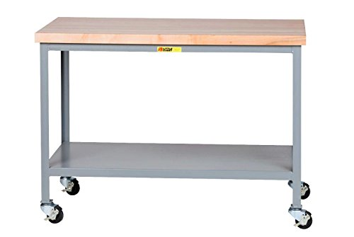 Little Giant WTS-3060-3R Steel Mobile Butcher Block Top Tables, 1 Lower Shelf, 1000 lb. Load Capacity, 35