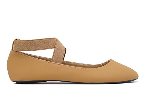 Charles Loafers (Charles Albert Dana Women's Ballerina Flats with Elastic Crossing Straps (11, Tan))