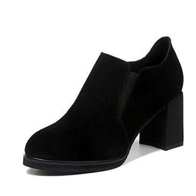 Las mujeres Botas de cuero auténtico confort Suede Primavera confort informal camello plana negra Black