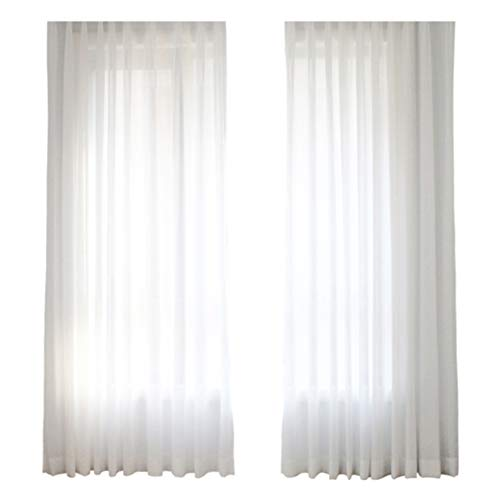 Aside Bside Modern Linen Sheer Curtains Solid Cross Semi Transparent Voile Window Curtain Rod Pocket Draperies Treatments for Living Room & Bedroom(1 Panel, W 50 x L 90 inch, White) ()
