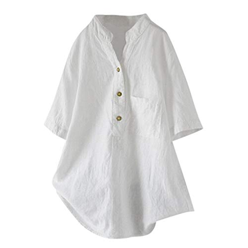 Cotton Linen Blouses, QIQIU Womens Summer V-Neck Loose Button Short Sleeve T-Shirt Casual Fashion Tops White
