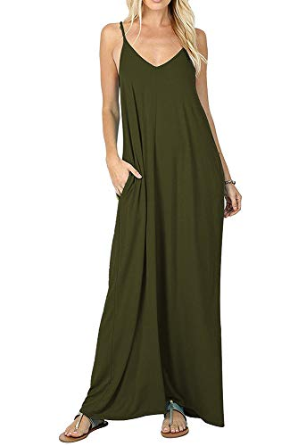 (Womens Spaghetti Strap Maxi Dress Pockets Casual Loose Cami Long Summer Dress (S, Army Green))