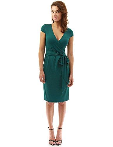 PattyBoutik Mujer Vestido de la envoltura del abrigo del faux de la manga del casquillo verde oscuro