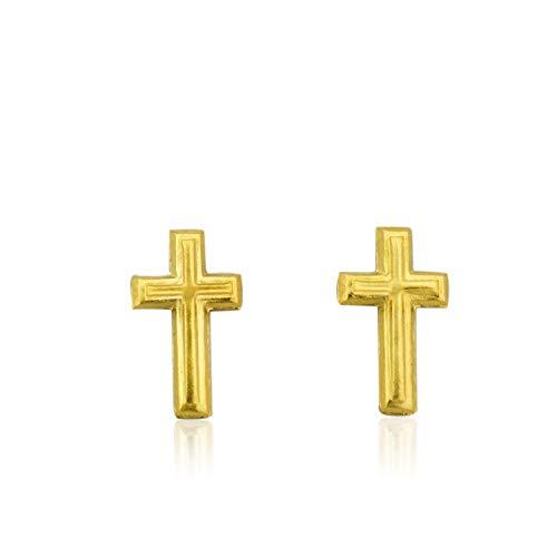 - 10K Yellow Gold Small Cross Stud Earrings