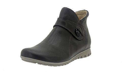 Calzado mujer confort de piel Piesanto 7541 botín casual cómodo ancho Negro