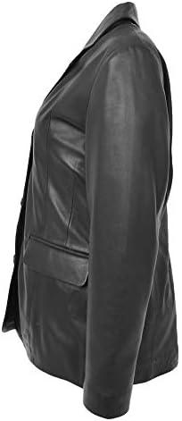 HOL Donne Vera Pelle Blazer Tre Bottone Classico Giacca Janet Nero