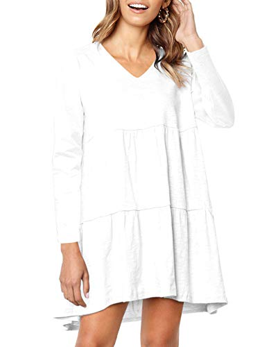 Women Long Sleeve Ruffle Loose Swing Casual T Shirt Dress with Pocket (White, (Best Babydoll For Women)