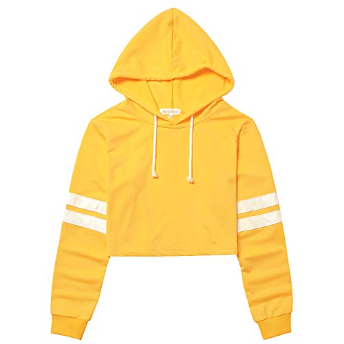 (Yellow Crop Top Hoodie Cropped Hoodies for Women Long Sleeve Pullover)