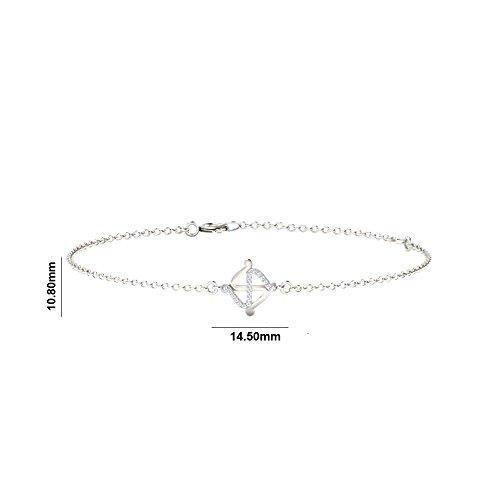 Argent Blanc 92 ct Bracelet Diamant , 0.1 Ct Diamant, GH-SI, 0.59 grammes.